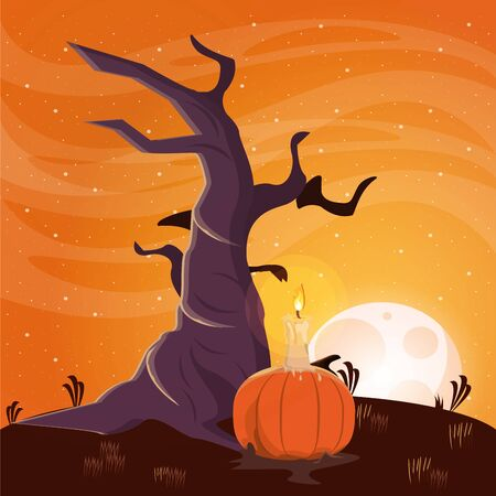 halloween dark scene with pumpkin vector illustration design Stock Illustratie