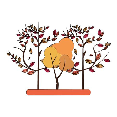 Autumn season trees and leaves nature cartoon vector illustration graphic design Stock Illustratie