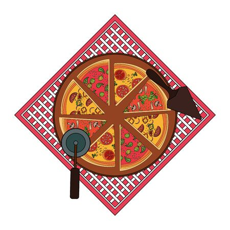 picnic tablecloth with pizza slices and utensils over white background, vector illustration Stock fotó - 132559224