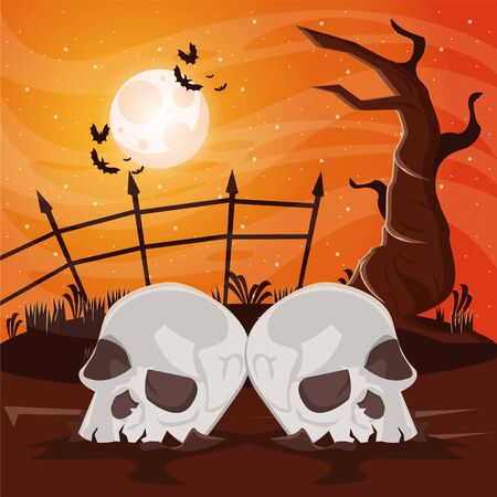 halloween dark scene with skulls heads vector illustration design Stock Illustratie