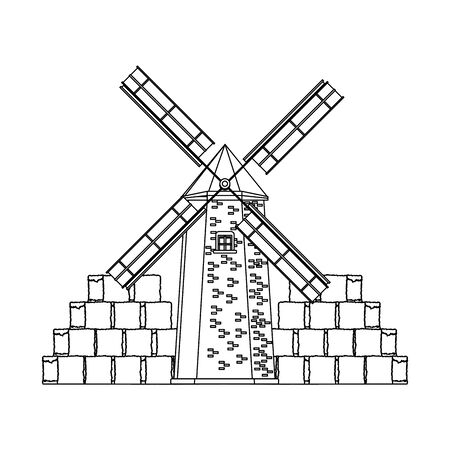 farm windmill and bales of hay stacks over white background, vector illustration Zdjęcie Seryjne - 132559225