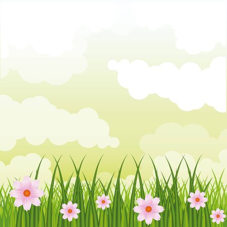 Beatiful gardenwith flowers sunny day scenery vector illustration graphic design