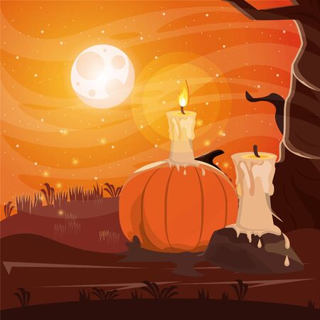halloween dark scene with candle in dark night vector illustration design
