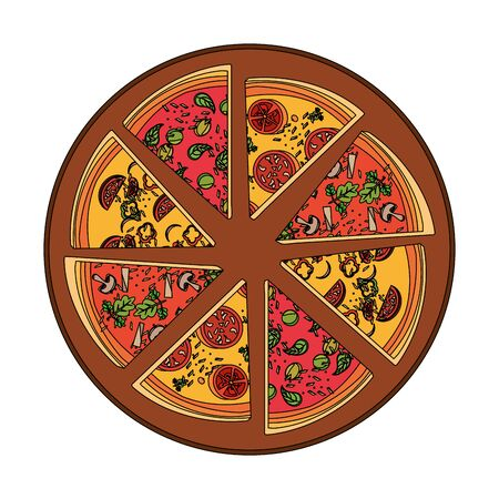 italian pizza slices on a pizza paddle over white background, vector illustration