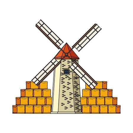 farm windmill and bales of hay stacks over white background, vector illustration
