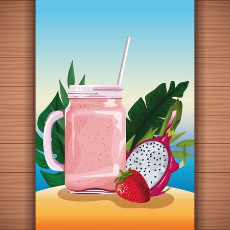Summer tropical refreshment fruit juice on beach scenery, wooden background. vector illustration graphic design