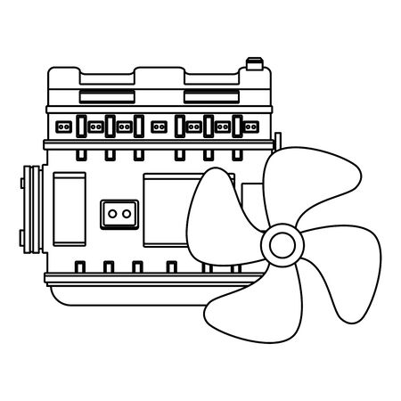 car service parts engine and cooling cartoon vector illustration graphic design