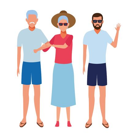 old couple and young man avatar wearing summer clothes and sunglasses vector illustration graphic design Ilustração