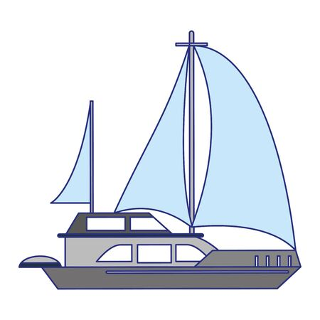 Sail boat ship sideview cartoon isolated vector illustration graphic design Ilustracja