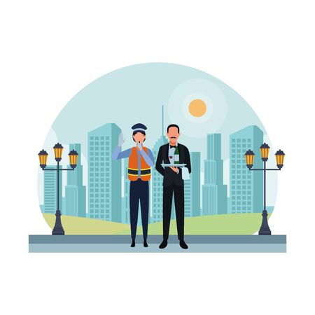 Jobs und Berufstätige in der städtischen Landschaftsvektorillustration der Stadt