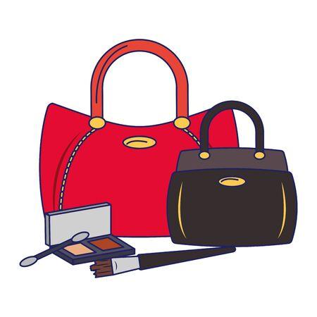 Make-up und Damenmode Taschen mit Lidschatten Vektor-Illustration Grafikdesign
