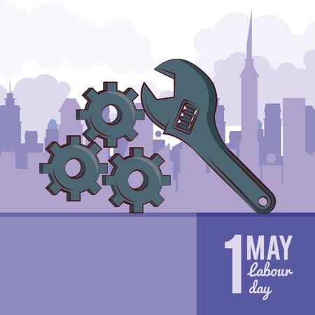 Labor day may eleven card with tool and cityscape vector illustration graphic design Иллюстрация