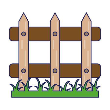 Garden fence with grass cartoon