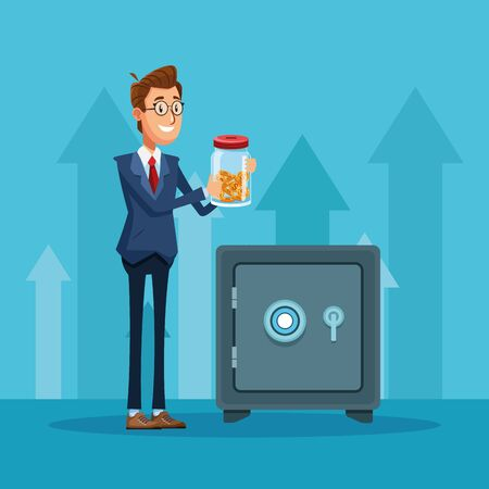 Businessman banker with savings and strongbox cartoon vector illustration graphic design