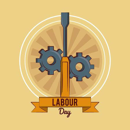 Happy labour day card with construction tool and ribbon banner vector illustration graphic design