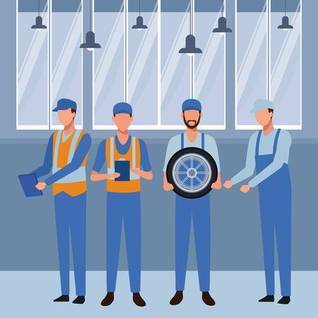 industry car manufacturing workers with wheel cartoon vector illustration graphic design