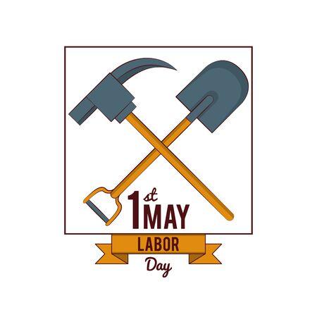 Labor day may eleven card pick and shovel vector illustration graphic design Иллюстрация