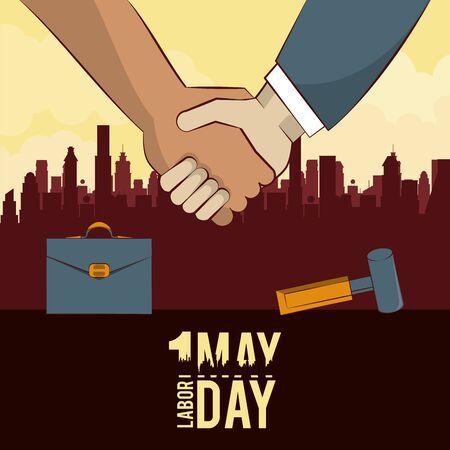 Labor day may eleven card handshaking businessman and worker vector illustration graphic design Иллюстрация
