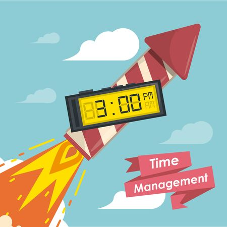 Time management concept and cartoons with ribbon banner vector illustration graphic design Vector Illustratie