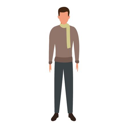 avatar man standing and wearing scarf and sweater over white background, colorful design. vector illustration Ilustracja