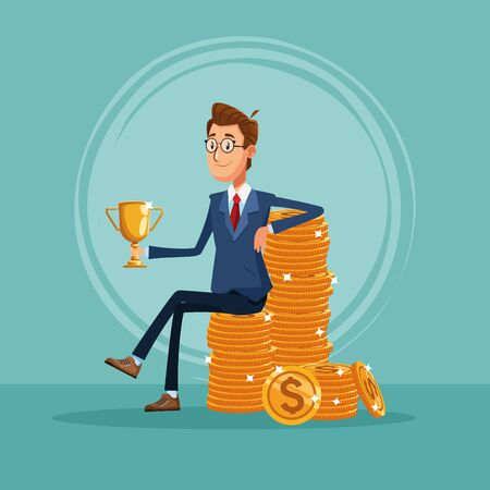 Businessman banker seated on coins holding trophy cup cartoon vector illustration graphic design