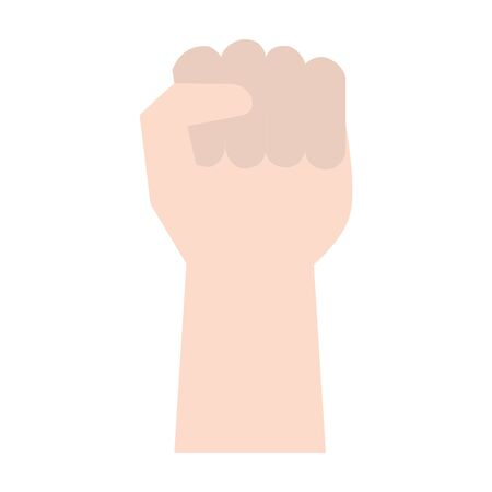 Hand Raised Up Clenched Fist over white background, vector illustration