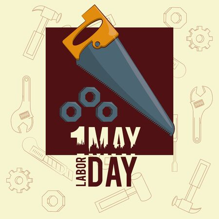 Labor day may eleven card saw and threads vector illustration graphic design