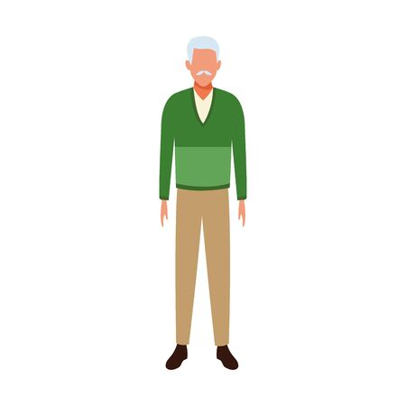 avatar old man standing over white background, colorful design. vector illustration