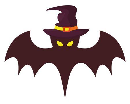 halloween bat flying with witch hat vector illustration design