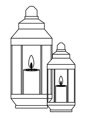 Antique lanterns with candles cartoon vector illustration graphic design