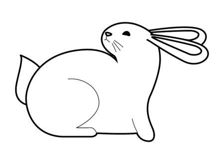 Dessin animé animal de compagnie de lapin mignon, conception graphique d'illustration vectorielle. Vecteurs