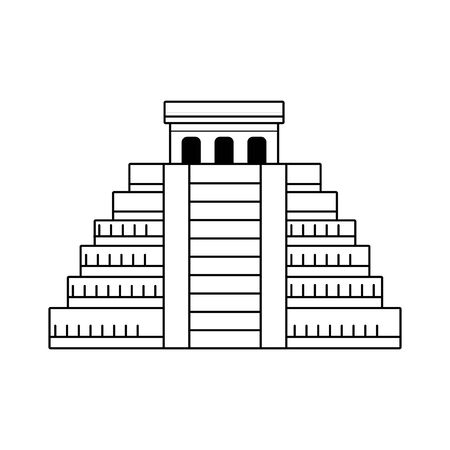Mayan pyramid icon over white background, black and white design. vector illustration
