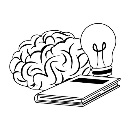 Brain and bulb light with book cartoon vector illustration graphic design