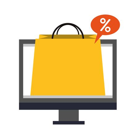 online shopping ecommerce sale, buying by computer cartoon vector illustration graphic design