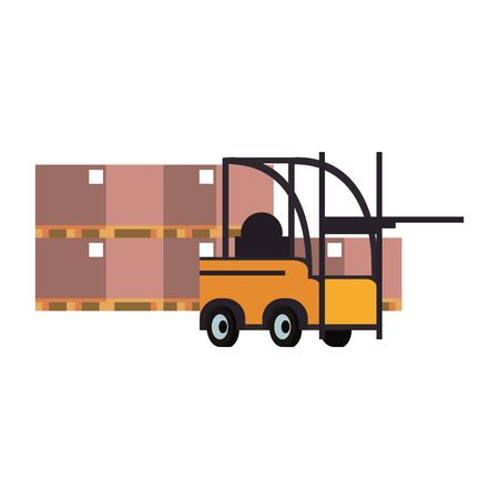 Forklift cargo vehiclewith delivery boxes vector illustration