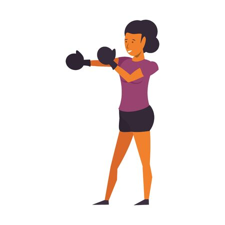 Fitness woman training boxing with gloves isolated vector illustration graphic design Ilustracja