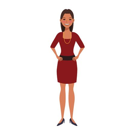 cartoon young woman wearing elegant dress over white background, colorful flat design, vector illustration