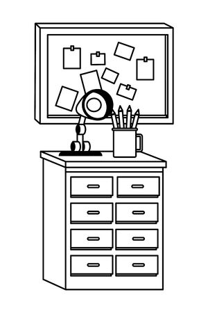 Office workplace elements light lamp and pencils on drawer with corkboard cartoons ,vector illustration graphic design. Illustration