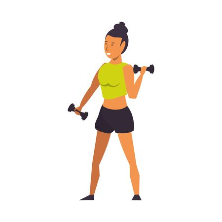 Fitness woman lifting dumbbells isolated cartoon vector illustration graphic design