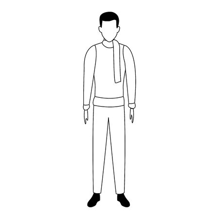 avatar man standing and wearing scarf and sweater over white background, vector illustration Ilustracja