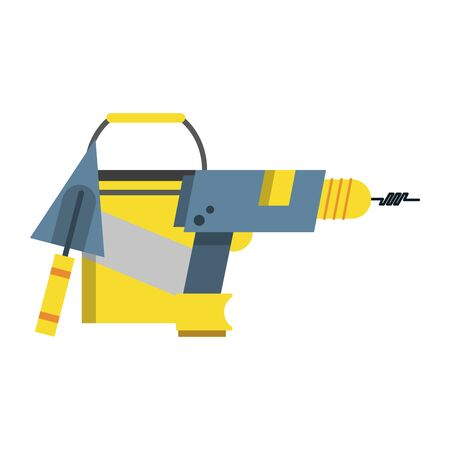 carpentry and constrution tools equipment with bucket cartoon vector illustration graphic design