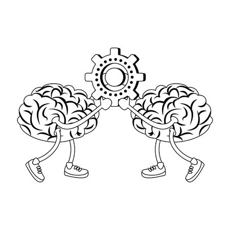 Brains with shoes holding gear cartoon vector illustration graphic design Vector Illustration