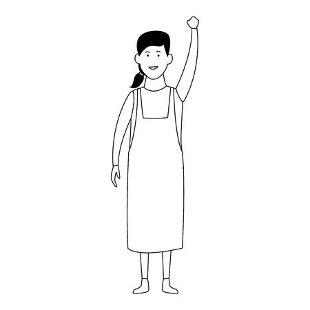 happy woman standing wearing casual clothes over white background, vector illustration