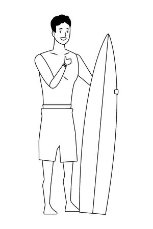 Young man with surf table in summer time vector illustration graphic design Çizim