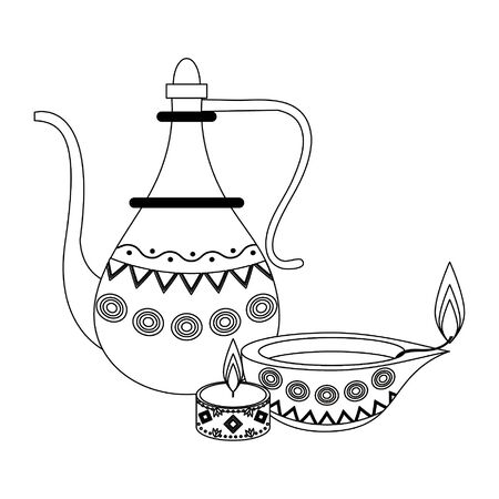 indian traditional teapot with lit candle and lamp icon cartoon vector illustration graphic design