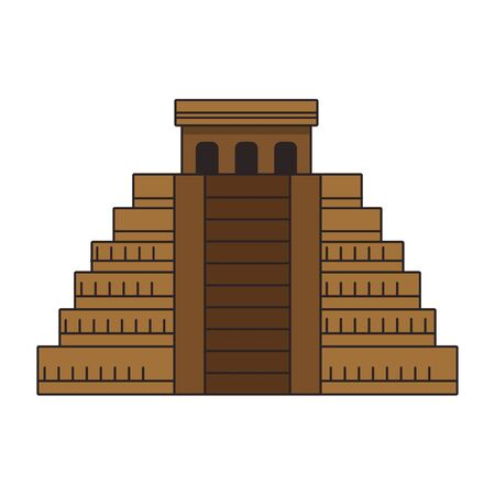 Mayan pyramid icon over white background, vector illustration