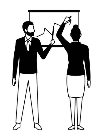 business people businessman wearing beard and using a wand pointing a data chart and businesswoman back