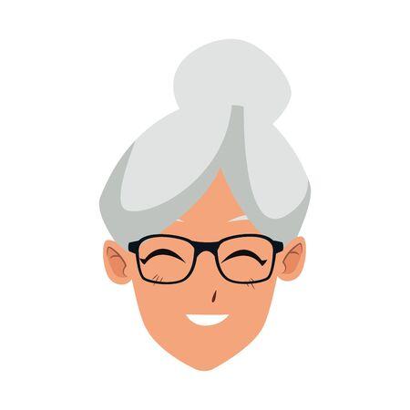 Cartoon alte Frau lächelnd Symbol auf weißem Hintergrund, Vektor-illustration