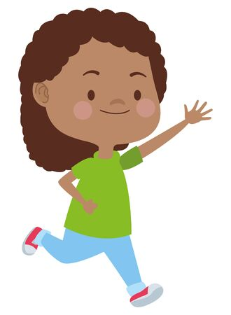 Beautiful girl running, smiling and having fun vector illustration graphic design. Illustration