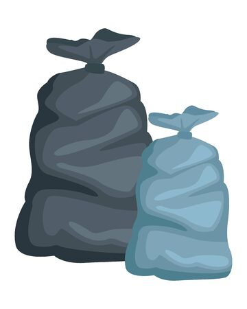 two garbage bag icon cartoon vector illustration graphic design Illustration